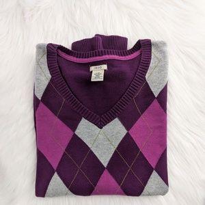 IZOD | Prep Squad Argyle Purple and Pink Sweater